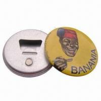 China Magnetic Button Bottle Openers, Measures 58mm, Tin/Plastic Material wholesale