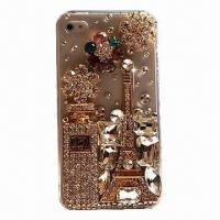 China Mobile phone case for iPhone 4G/S and 5G/S, Swarovski crystal rhinestone mobile phone case wholesale