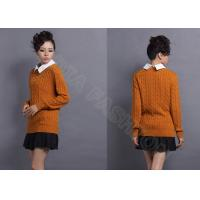 China 2014 Womens Cable Knit Sweaters Round Neck Solid Color Pullover wholesale