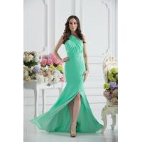 China Gorgeous Green One Shoulder Mermaid Floor Length Chiffon Evening party Dress With Beads wholesale