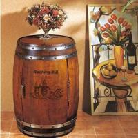 China Wooden Wine Barrel with Green Paint Finish and European Beech Sliding Racks wholesale
