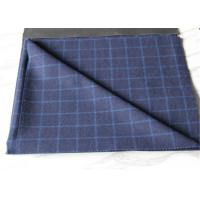 Medium Wool Plaid Fabric Navy Background And White Line , Window Pane Fabric