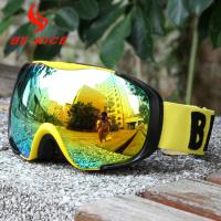 China Anti Uv Gold Youth Ski Goggles Mirror Lens With Drop Ball Test Certification wholesale