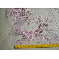 China Embroidered 55 Inch Peach Color 3D Floral Rose Lace Fabric With Beads And Sequins wholesale