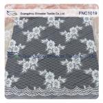 China Light Orange Flower  Cotton Nylon Lace Fabric for dress , fashion garments, wedding dress wholesale