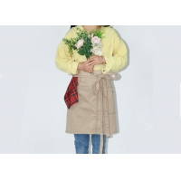 China Beige Embroidery 40 * 55cm Cotton Work Apron For Kitchen Cleaning on sale