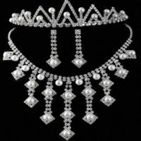 China Jewelry Set Stocklots with Rhinestones and Pearl, Necklace and Earrings Fashion Jewelry Stocklots wholesale