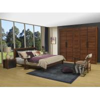 China 2016 New Nordic Design Cow leather Headboard bed in Walnut wood Furniture and MDF panel Wardrobe in Wall cabinet wholesale
