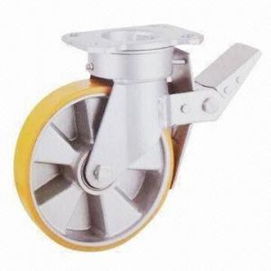 China Braked Swivel Caster Wheel with Polyurethance Wheels and Aluminum Core wholesale