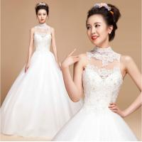 China High Collar illusion neckline Princess Wedding Gowns with open back for Girls wholesale