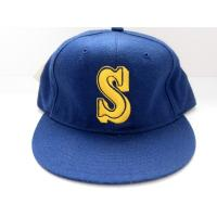 China Sandwiches Blue 6 Panels Blank Baseball Cap With Velcor Strap , Pre-Curved Visor Hats on sale