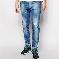 China 2017 Skinny light blue funky men jeans in wash  new style jeans pent men on sale