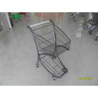 40L Steel Tube Airport Grocery Push Cart , Grocery Shopping Trolley With Advertisement Board