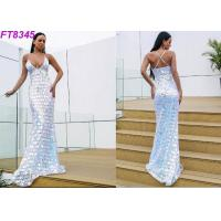 China Modern Deep V Back Cross Strap Sequins Long Evening Gowns , Sexy Evening Dresses wholesale