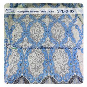 China Women Dress Corded Lace Fabric , Double Tone Nylon Cotton Lace Fabric Scalloped wholesale