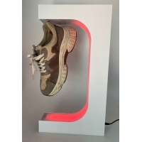 Quality colorful led light magnetic levitation floating sneaker shoes display stand with remote controller for sale