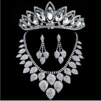 China Chic Heart Shaped Jewelry Necklace Earrings Crown for Weddings wholesale