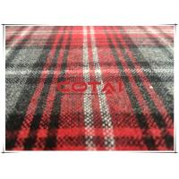China One Sided Thin Flannel Tartan Wool Fabric Red Gray Medium 5cm 11cm Plaid 30w wholesale