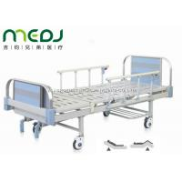 Double Crank Blue Hospital Bed Equipment MJSD05-09 With Four Ordinary Castors