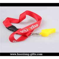 China red color Custom logo 20*900mm polyester  lanyard with whistle for promotion wholesale