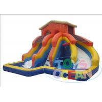 China Orange Large Inflatable Water Slide For Swimming Pool With Blower  0.9mm PVC wholesale