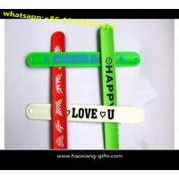 China Customized Cartoon Logo Print 100% Silicone Wrist Band/ Free Silicone Slap Bracelet wholesale