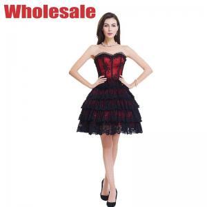 China OEM 9 Steel Boned Tight Lacing Corset Black Bustier Top Dress wholesale