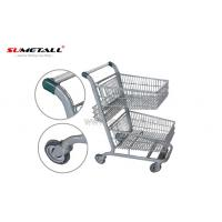 Metal Supermarket Trolley With Double Basket