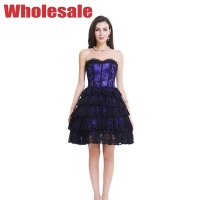 Buy cheap Breathable Purple Black 2XL Bodycon Corset Mini Dress With Zipper from wholesalers