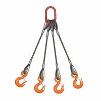 """China 7/8"""" x 20 ft QOS 4 Leg Wire Rope Sling , Bridle Steel Lifting Slings 52000 lbs WLL wholesale"""
