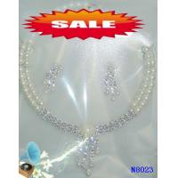 China Women's Silver Color Crystal Heart Jewelry Beaded Pearl Necklaces for Annivers 16g OEM wholesale