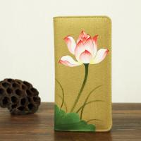 China Retro Travel Khaki Leather Clutch Wallet Canvas With Hand Painted Flower wholesale