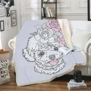 China 3D Dog Sherpa Blanket on Beds Animal Fur Throw Blanket for Adults Brown Gray Bedding mantas para cama wholesale