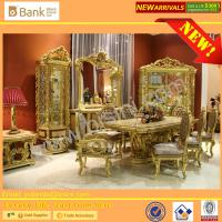 China (BK0109-0010)Luxury Italian Palace Wooden Hand Carved Mother of pearl inlays with gold leafs Long Dining Table and Chair on sale
