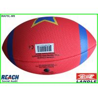 China Professional Rubber Red American Football Balls / Inflatable Rugby Ball Size 3 wholesale