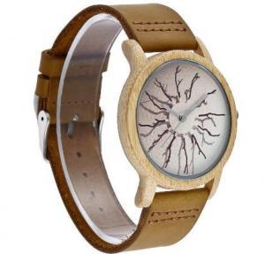 Quality Wholesale Fashion Genuine Leather Strap Wood Case Quartz Lovers Wrist Watches 5001 for sale