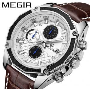 China MEGIR Fashion Racing Men Chronograph Multifunction Leather Strap Waterproof 30m Quartz Wrist Watches 2015G wholesale