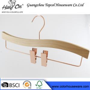 China Rose gold wooden hanger pants hanger trousers hanger bottom hanger wholesale