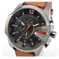 China Wholesale NEW DIESEL DZ4343 Mega Chief Mens Watch Brown Leather Black Dial Chrono DZ4343 wholesale
