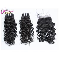 Wholesale Black Jerry Curl Brazilian Virgin Hair Extensions No Tangle With Lace Closure from china suppliers