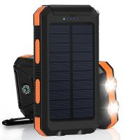 China Inbuilt Compass 8000mAh Polymer Battery IP67 Waterproof Solar Power Bank for Hiking wholesale