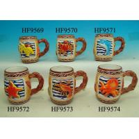 China Colorful Coffee Custom Ceramic Mugs With Relief Sea Animals 12. X 8 X 11 Cm wholesale