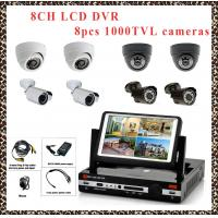 China LCD DVR 8CH HDMI 960H H.264 all in one D1 REAL TIME DVR kits with 8pcs CMOS1000TVL CCTV CAMERA CCTV SYSTEM DVR PACKAGE wholesale