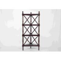 China Walnut Soild Wooden Corner Shelf 4 Tiers , Multi Purpose Storage Rack Living Room wholesale