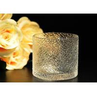 China Leaf Pattern decorating clear glass candle holders for wedding , 18oz wholesale