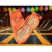 China Guangdong Polyester Anti Slip Trampoline Safety Socks , Orange Breathable Socks With Rubber Soles wholesale