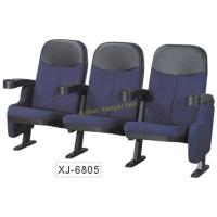 China Blue Or Red Cinema Theater Chairs , Movable PP Armrest Fold Up Fabric Auditorium Chairs wholesale