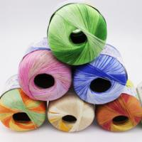 China Cotton Crochet Yarn Long Thin Section Stained With Bright Silk Lace Yarn For Hand-Knitting Crochet Cotton Yarn 1pcs 50g on sale
