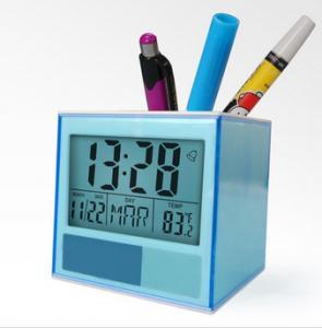 Home Decor Desk Digital Clock Pen Stand Holder with Penholder Date Temperature for Classroom, Hotel