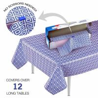 China Blue Picnic Disposable Plastic Table Skirts , Party Tablecloth Roll With Self Cutter Box wholesale